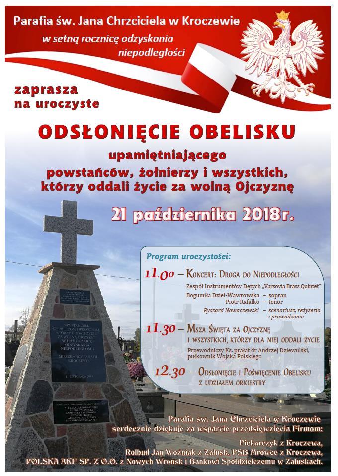 Odsłonięcie obelisku walczących w obronie wolności Ojczyzny